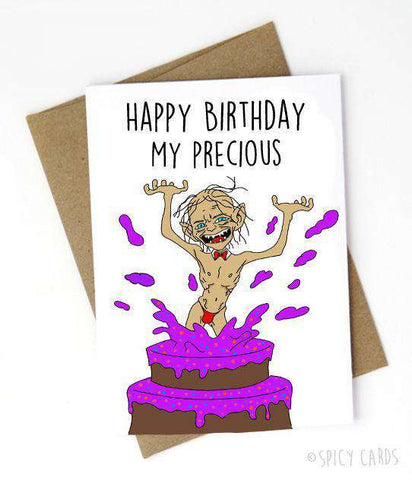 Gollum Lord Of The Rings Happy Birthday My Precious Funny Happy Birthday Card FREE SHIPPING