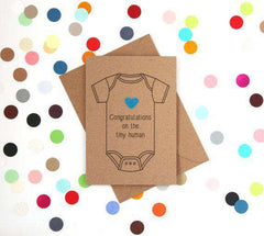 Congratulations On The Tiny Human Funny New Baby Congratulations Card Pregnancy Card Baby Shower Card FREE SHIPPING