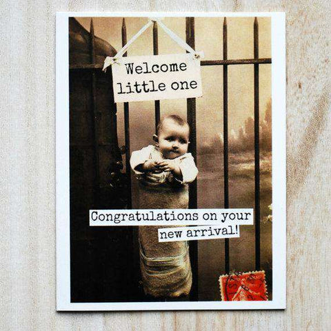 Welcome Little One Congratulations On Your New Arrival Funny Vintage Style New Baby Congratulations Card Pregnancy Card Baby Shower Card FREE SHIPPING