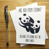 China Get In Your Pants Panda Funny Anniversary Card Valentines Day Card FREE SHIPPING