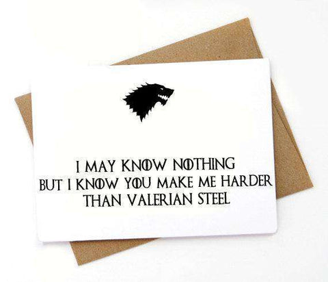Game Of Thrones Harder Than Valerian Steel Funny Anniversary Card Valentines Day Card FREE SHIPPING