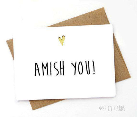 Amish You Funny Anniversary Card Valentines Day Card Love Card FREE SHIPPING