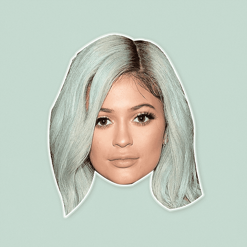 Light Blue Gray Hair Kylie Jenner Mask - Perfect for Halloween, Costume Party Mask, Masquerades, Parties, Festivals, Concerts - Jumbo Size Waterproof Laminated Mask