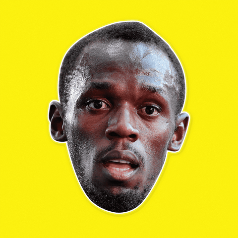 Usain Bolt Mask - Perfect for Halloween, Costume Party Mask, Masquerades, Parties, Festivals, Concerts - Jumbo Size Waterproof Laminated Mask