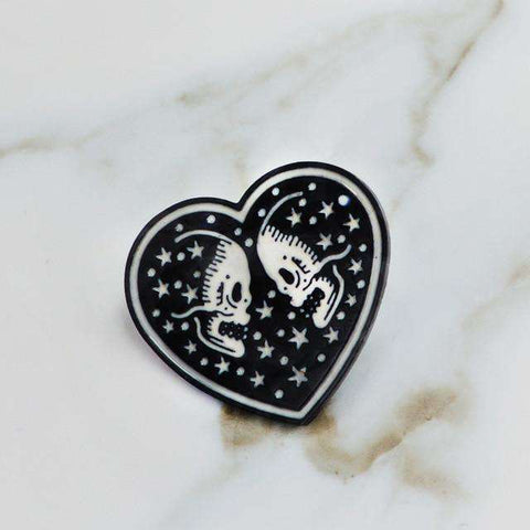 Free Skull Lover Heart Pink Enamel Pin Just Pay Shipping