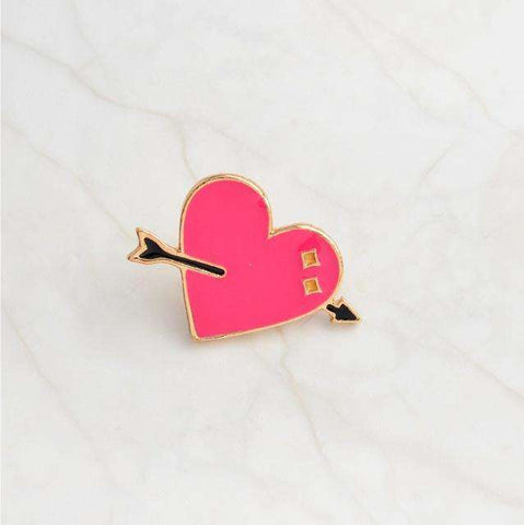 Free Heart Struck Heart Gold Pink Enamel Pin Just Pay Shipping