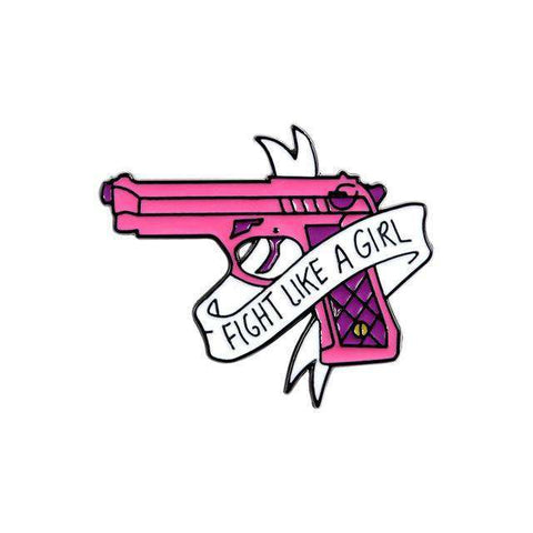 Free Fight Like a Girl Pink Gun Enamel Pin Just Pay Shipping