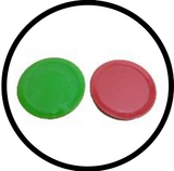 Red and green pucks