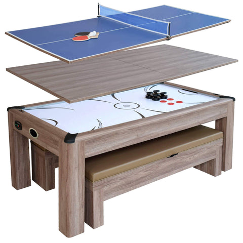 Hathaway Driftwood 7' Air Hockey Table Tennis Combo Set w/Benches