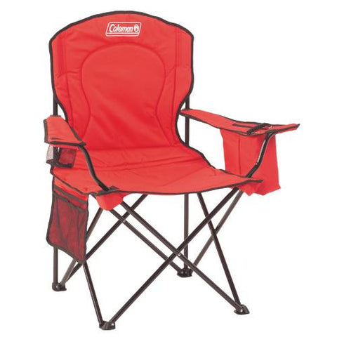 Adult Quad Chair with Cooler in Red - TentsEtc.com