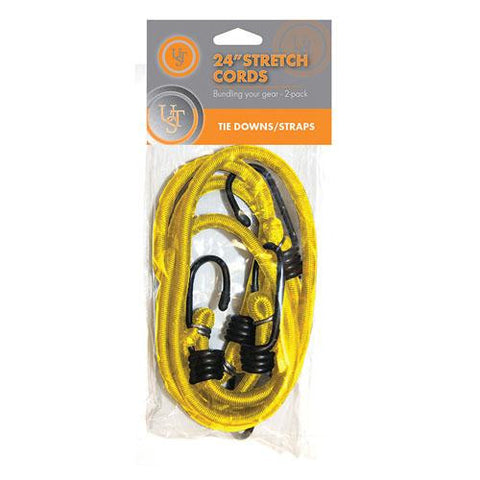 Ultimate Survival Technologies 24in Stretch Cord, Yellow (Pack of 2)