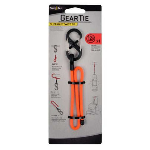 12in Clippable Twist Gear Tie, Bright Orange - TentsEtc.com