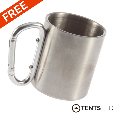 Tents Etc FREE Stainless Steel Mug with Carabiner Clip Handle