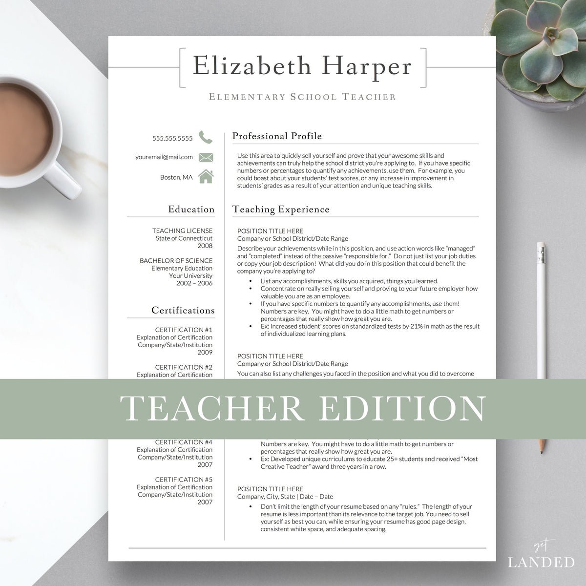 Get Landed: Professional Resume Template Designs & Resume Writing Tips