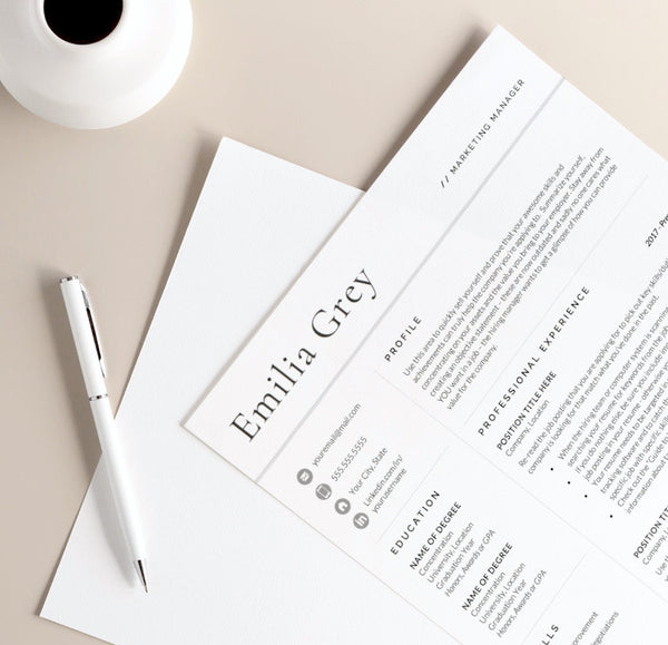 the emilia grey resume template for word and pages from get landed