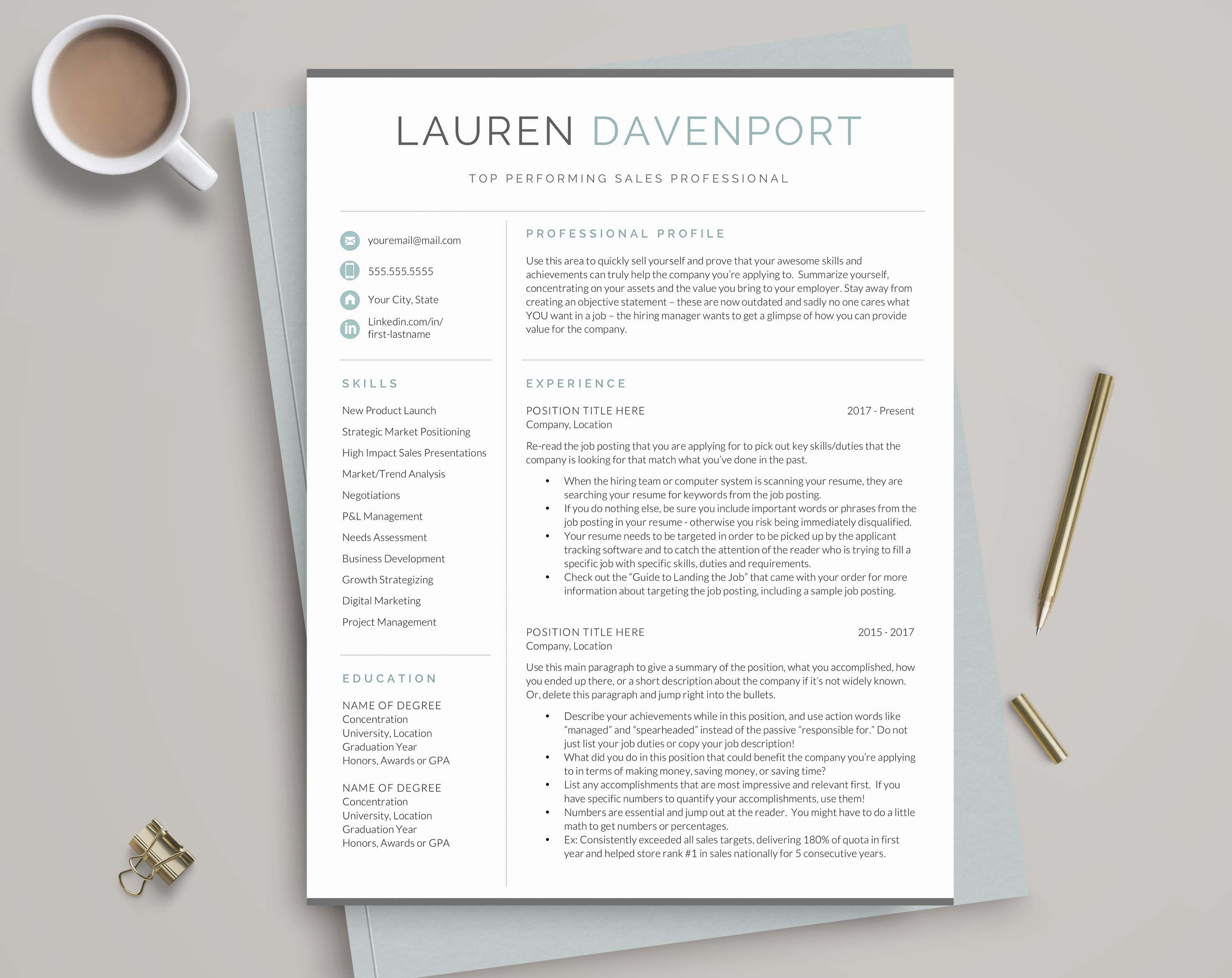 Modern resume template plus resume writing guide