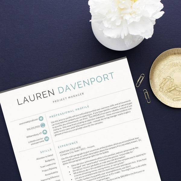 Lauren Davenport modern resume template for word and pages get landed