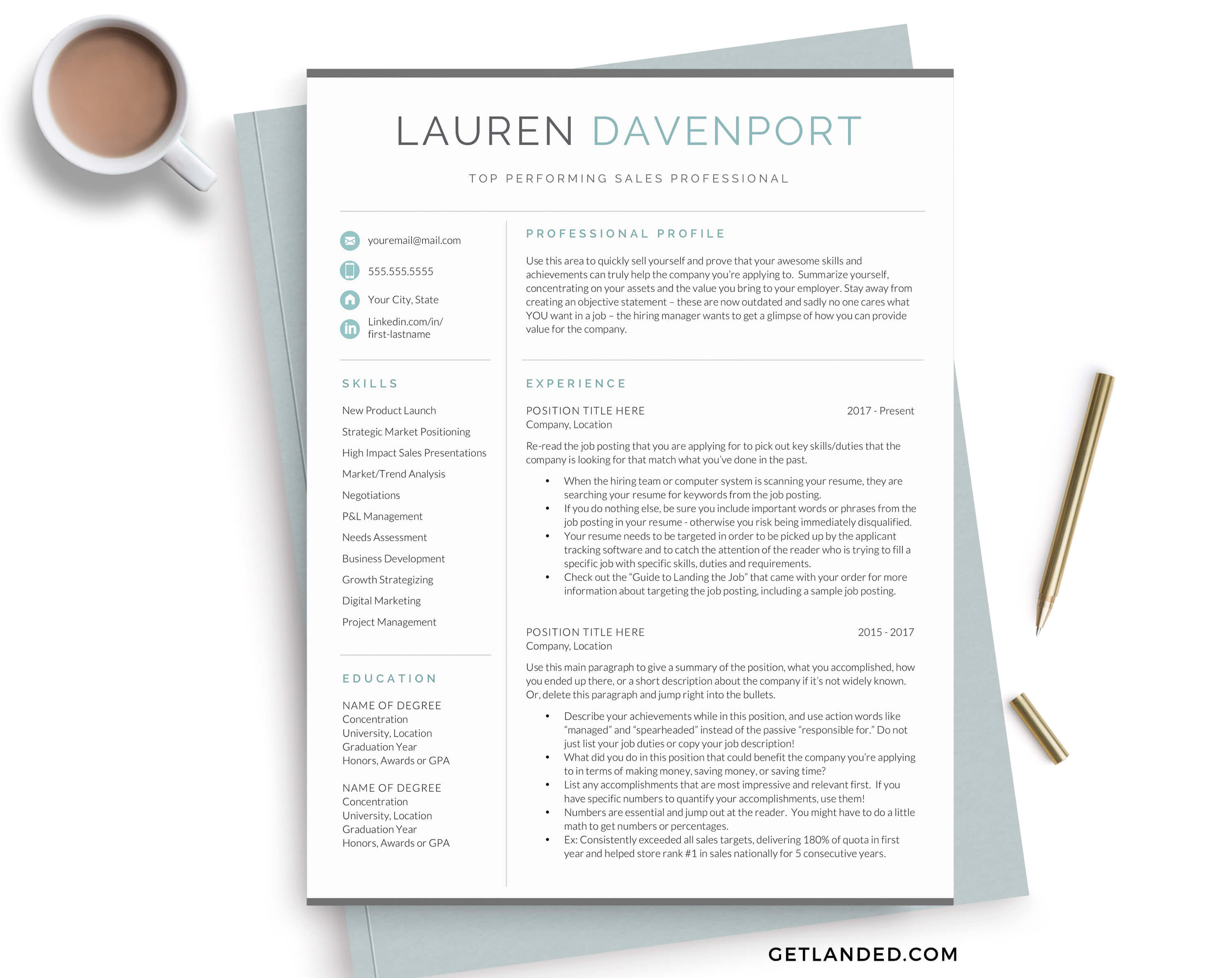 Lauren Davenport modern resume template for word and pages