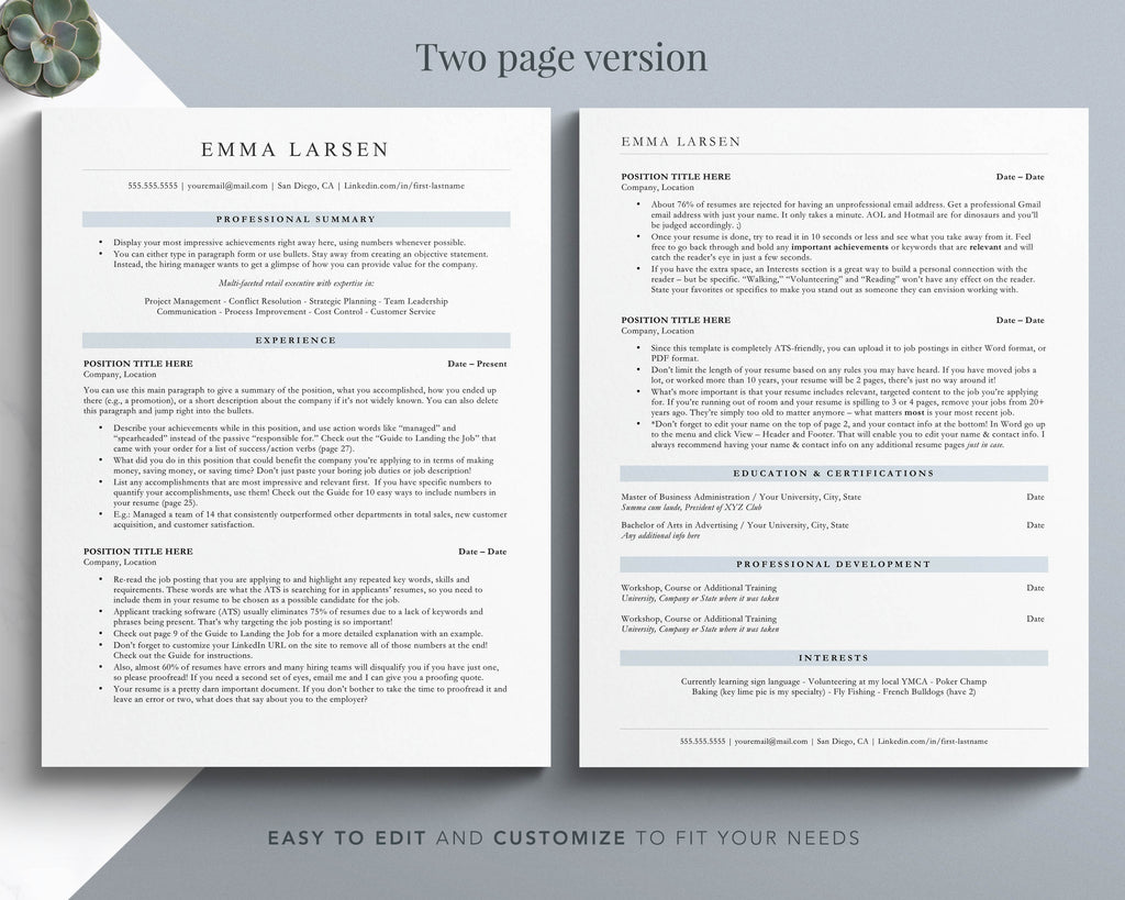 Two Page Resume Template ATS Friendly