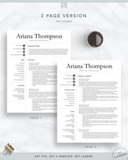Simple, Professional Resume Template for Word and Pages | The Ariana