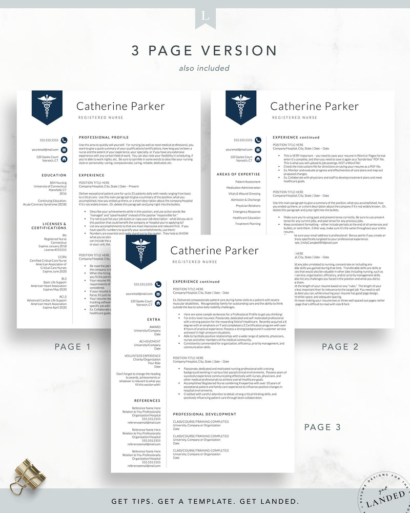Doctor, Nursing Resume Template for Word & Pages | The Catherine | RN Resume, LPN Resume, CNA Resume, PA Resume