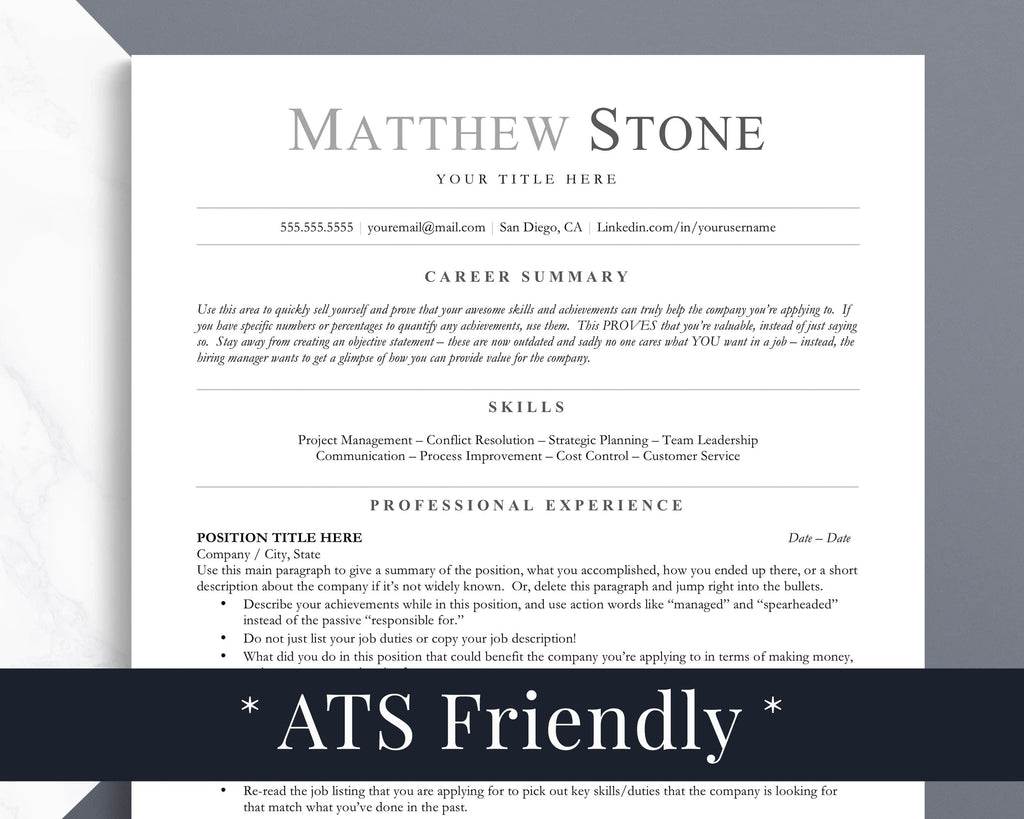 ATS Compatible Resume Format Template for Word Mac Pages Google Docs