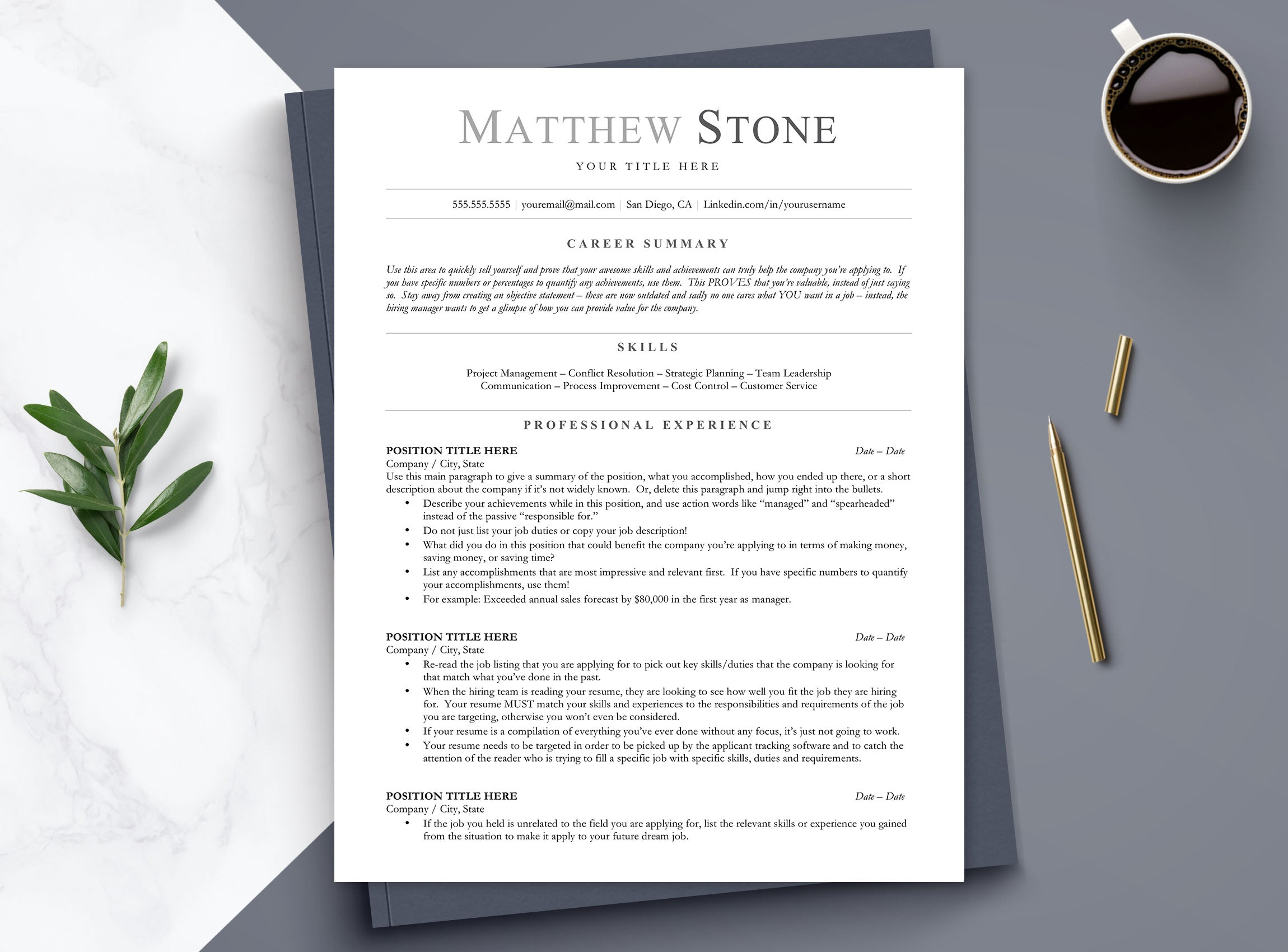 Instant Download A4 /& US Size ATS Friendly Minimal Designed CV Resume Template for Google Docs and Ms Word Cover Letter Reference
