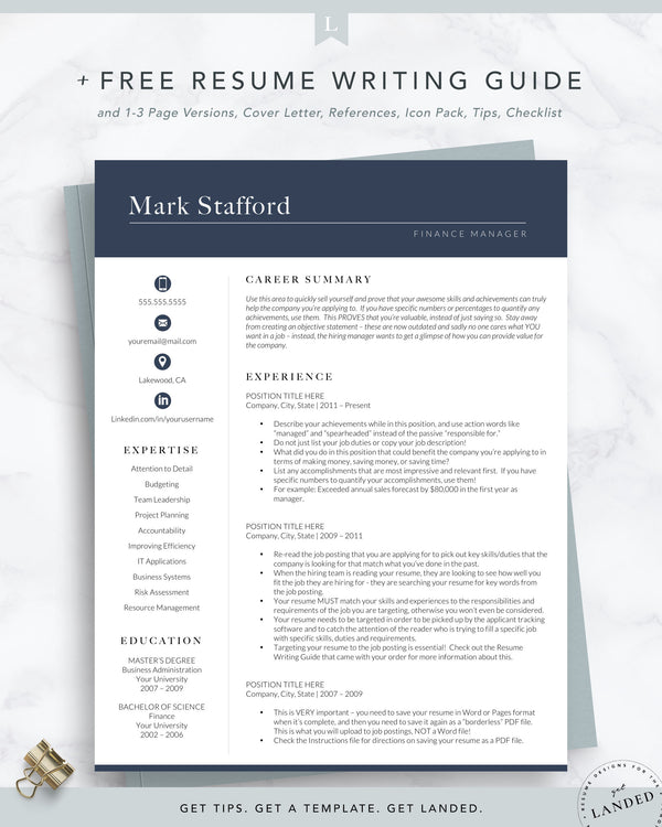 Finance Resume Template for Word and Pages | The Stafford *NEW