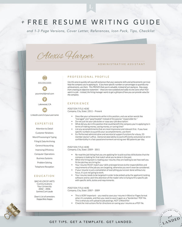 Administrative Assistant Resume Template for Word and Pages | The Alexis Harper