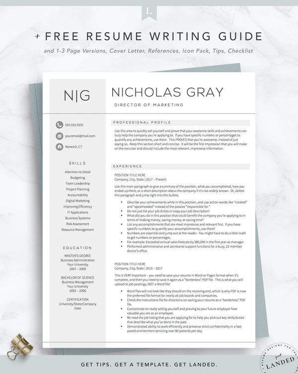 Professional Resume Template for Word and Pages | The Nicholas