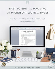 Professional, Simple Resume Template for Word & Pages | The Carrie