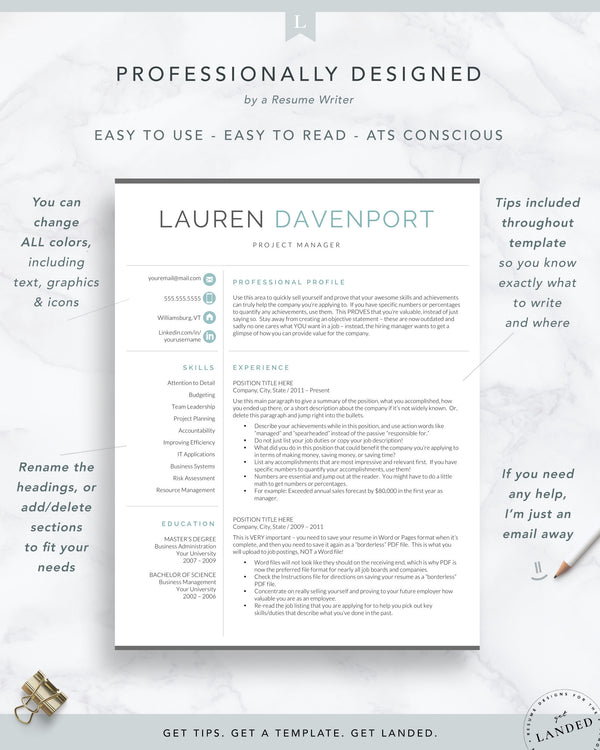 Resume Template for Word & Pages | The Davenport Marketing and Sales Resume