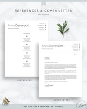 Minimal, Clean Resume Template for Word & Pages | The Anna Davenport