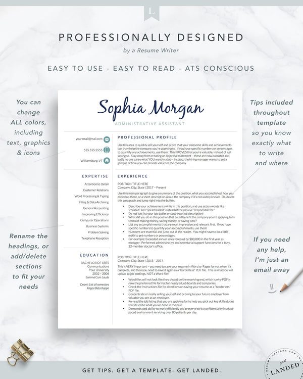 Administrative Assistant Resume Template | The Sophia