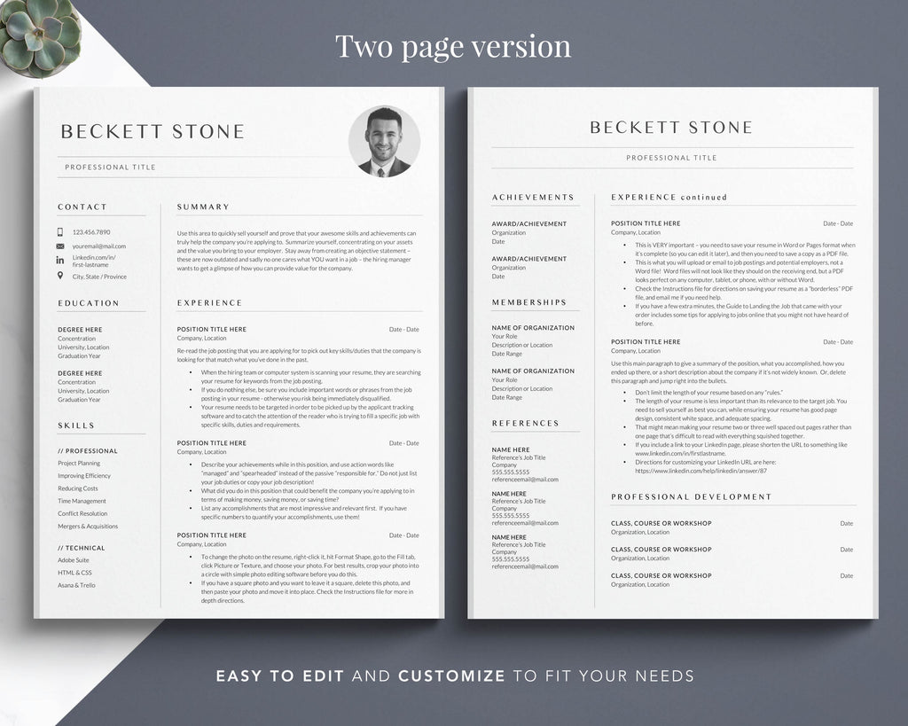 Curriculum Vitae Template for Word and Pages