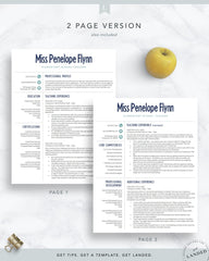 Elementary Teacher Resume Template for Word & Pages | The Penelope