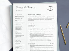 Entry Level Attorney Resume Template for Word and Pages Mac