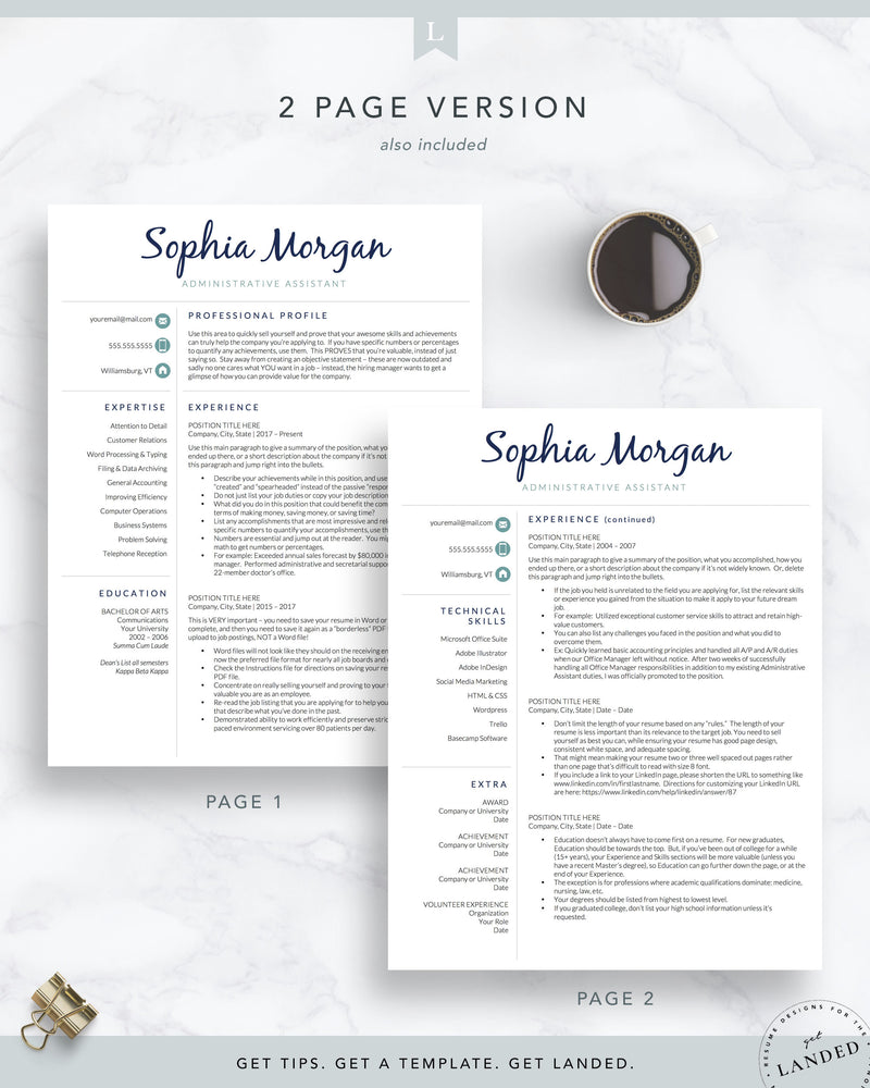 Administrative Assistant Resume Template for Word and Pages | The Sophia