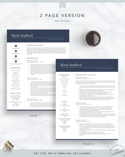 finance resume template for word and pages