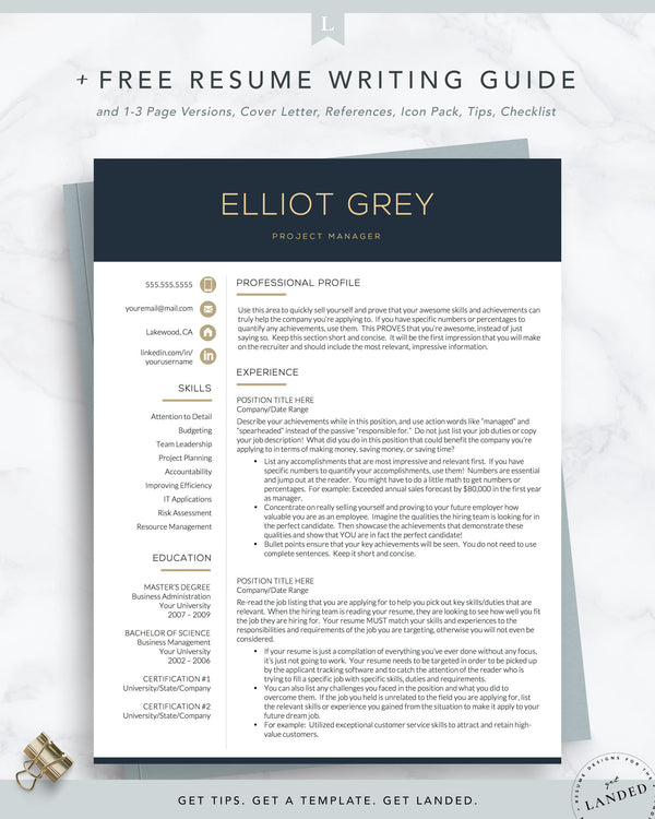 Modern Resume Template for Word and Pages | The Elliot Grey | Finance Resume, Technical Resume, IT Resume