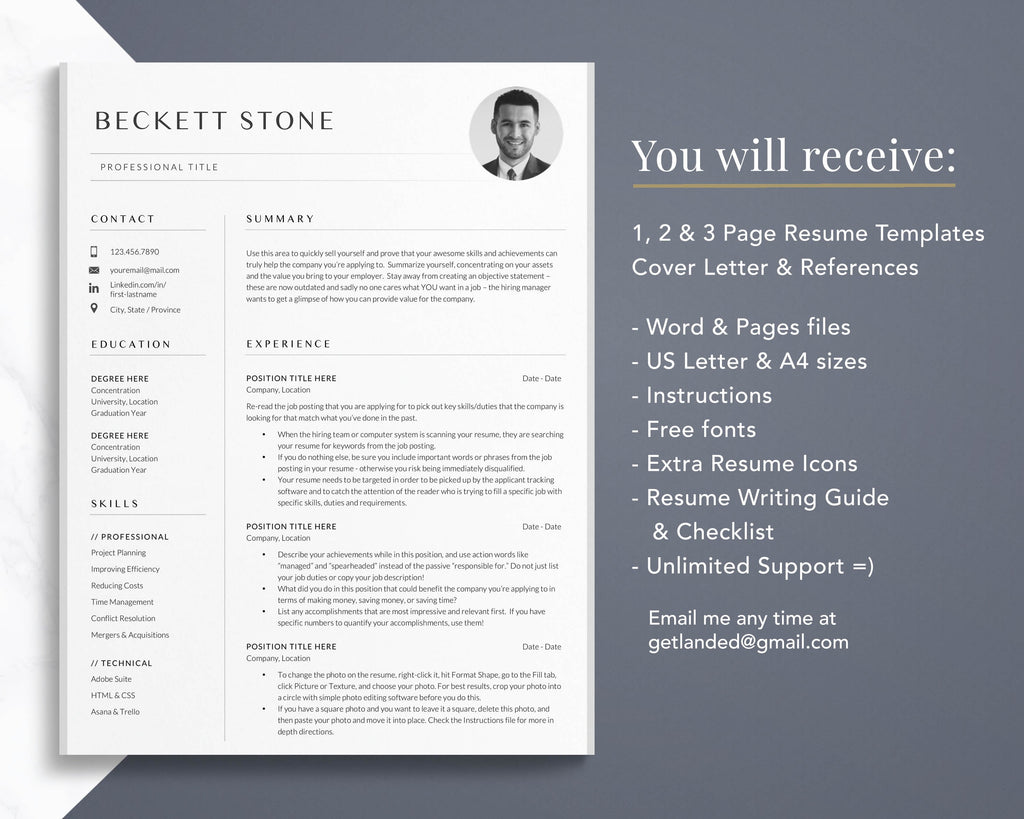 Get Landed Resume Template Includes