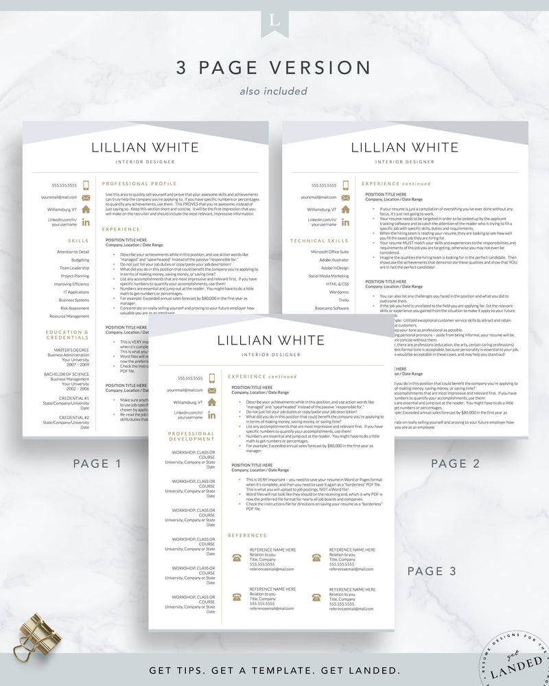 Interior Designer Resume Template for Word & Pages | The Lillian