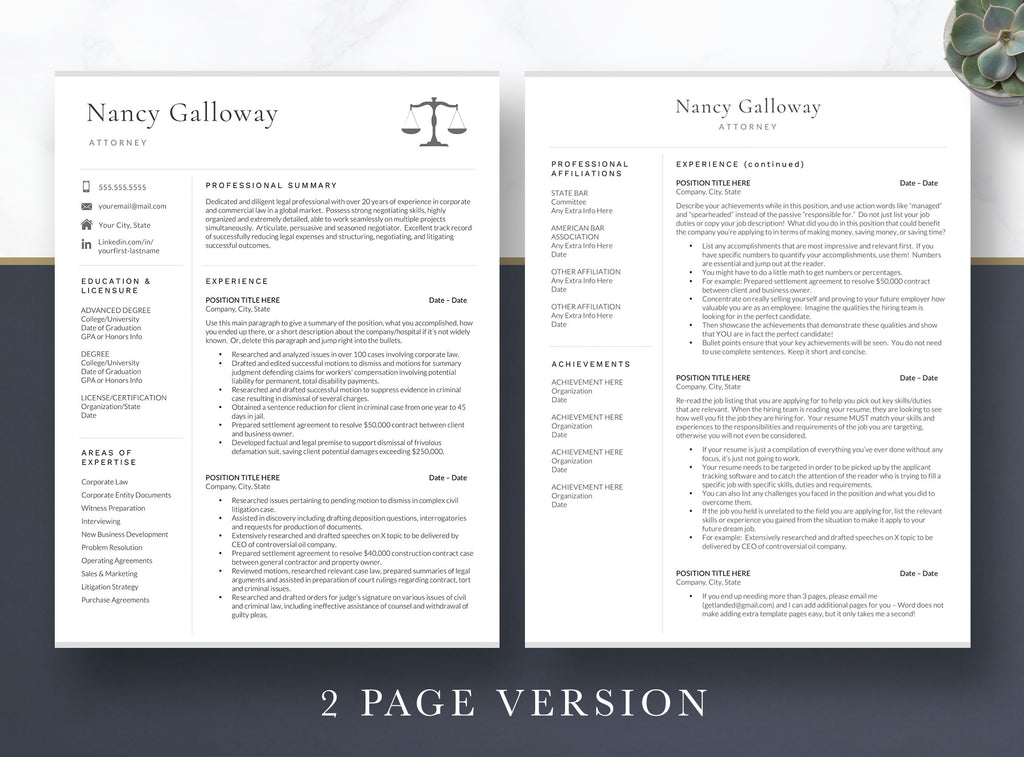 Lawyer Resume Template for Word and Pages, Lateral Attorney Resume