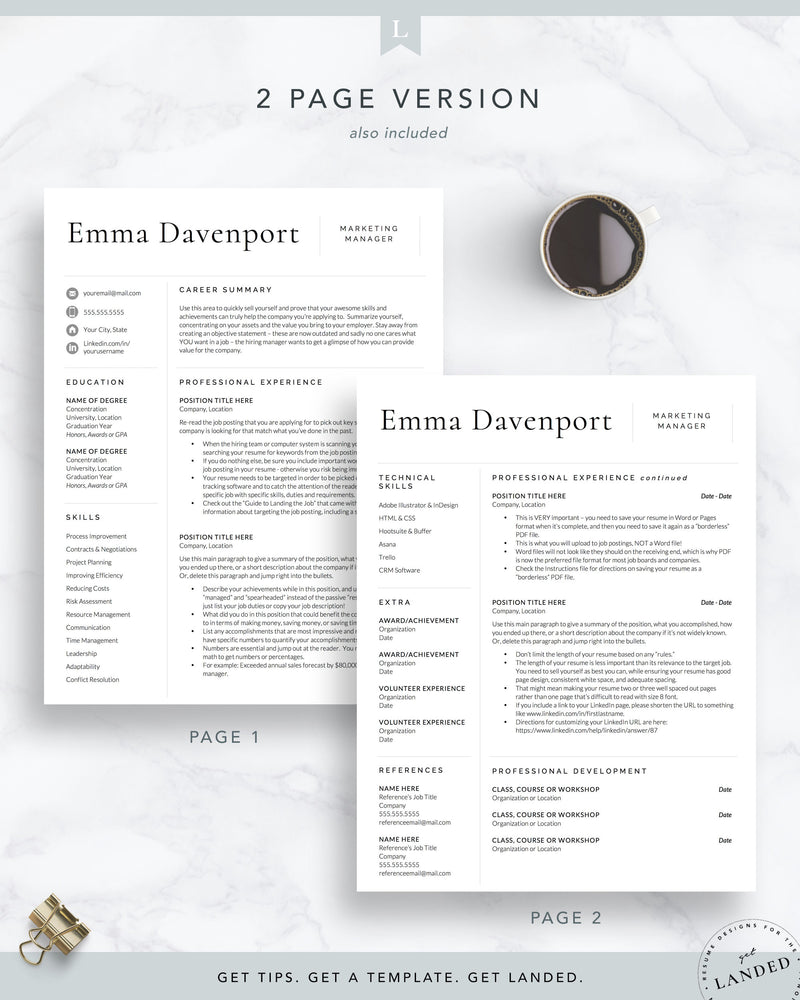 Modern, Clean Resume Template, Professional CV Template | The Emma