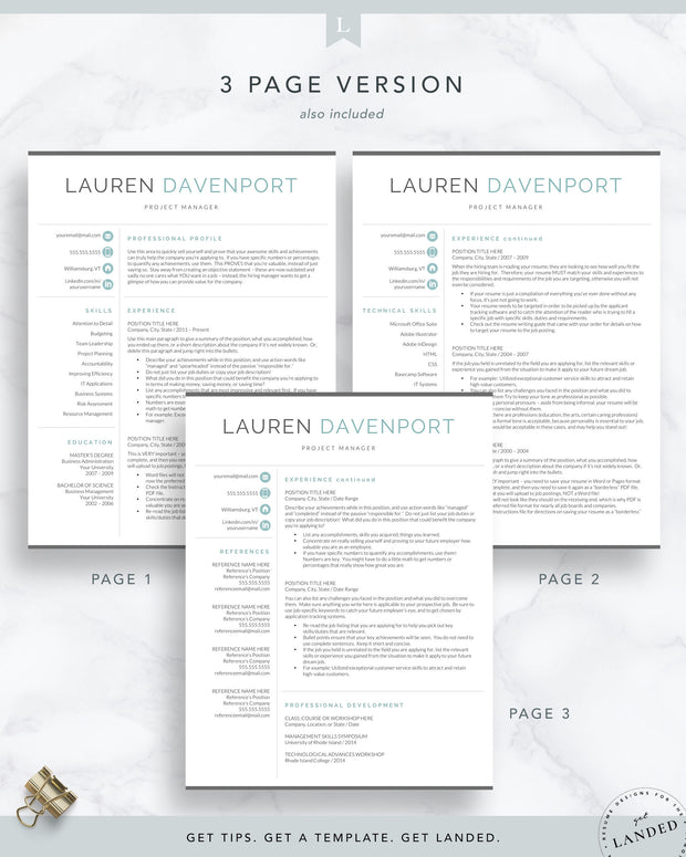 Resume Template for Word & Pages, Marketing and Sales Resume | The Davenport
