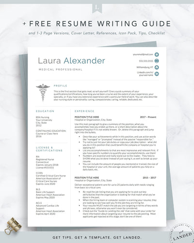 CNA Resume Template, RN Resume, Medical Resume, Doctor Resume