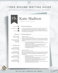 Educator, Teacher Resume Template for Word & Pages | The Katie