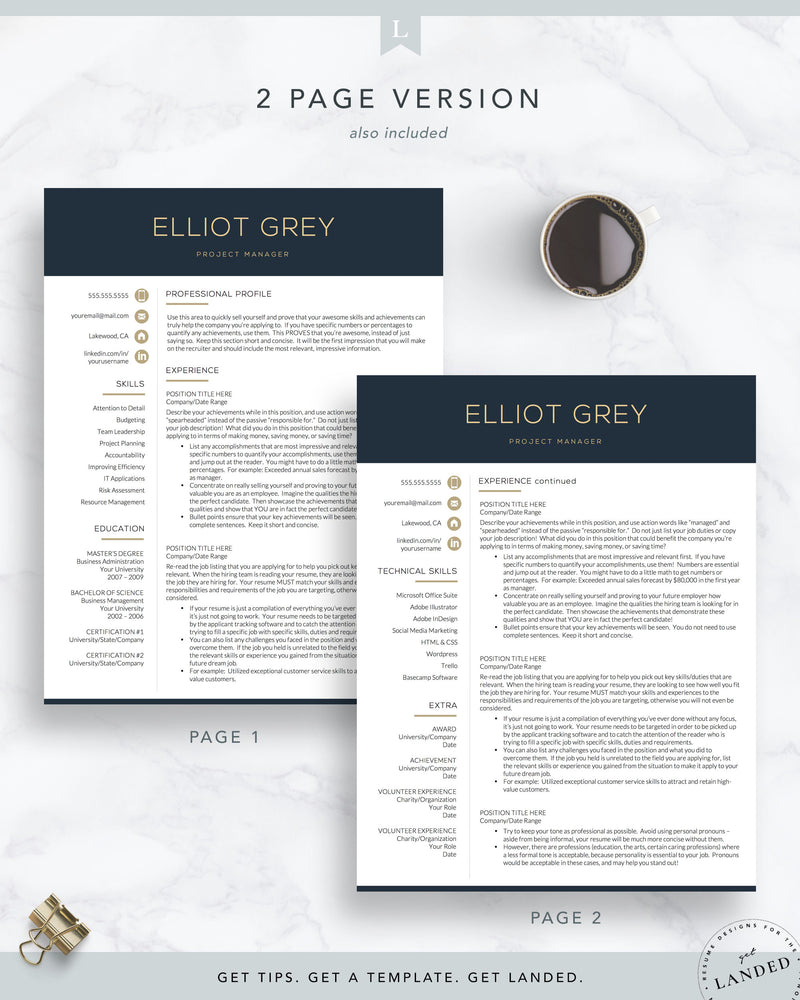 Modern Resume Template | The Elliot Grey | Finance, Technical, IT Resume