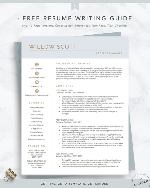 Resume Template for Word and Pages / Modern CV | The Willow