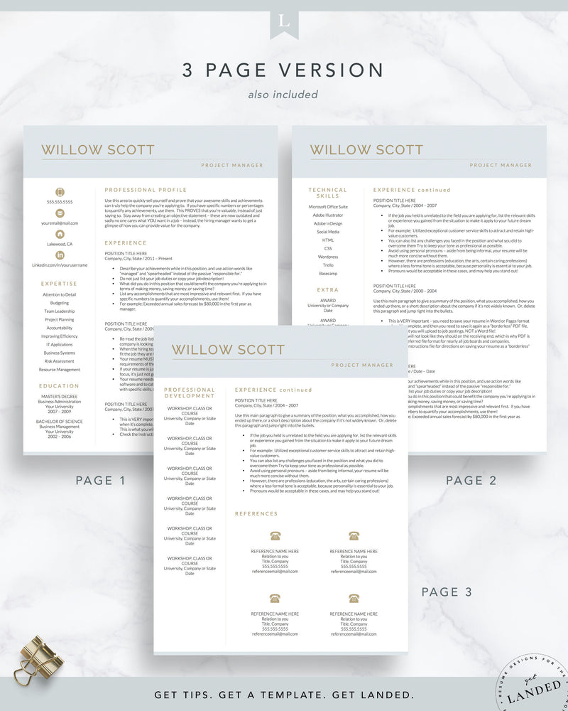 Creative Resume Template for Word and Pages, Modern CV | The Willow